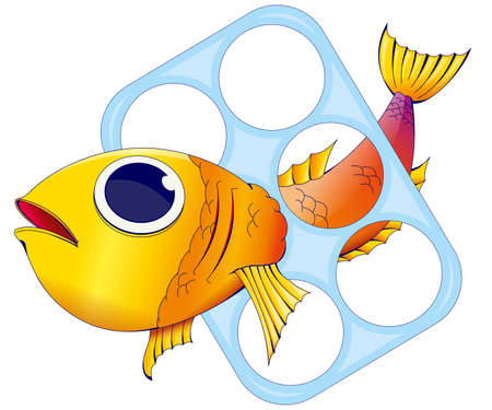 Red and yellow fish trapped inside a plastic ring to hold beer cans on white background. Vector image Illustration