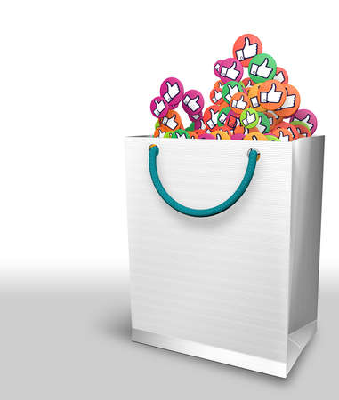 White paper bag full of yellow, green and purple circles with thumb up hand icon on white background. 3D Illustration