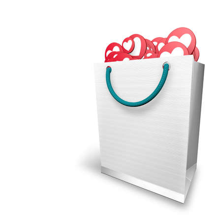White paper bag full of red circles and white heart with the I LOVE icon on white background. 3D Illustration