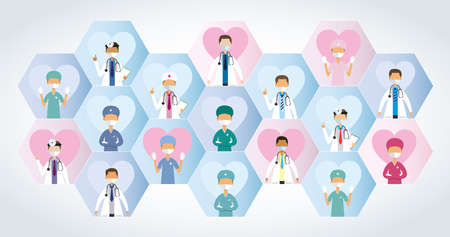 Composition of blue and pink hexagons with a group of doctors with masks seen from the front on each one with a heart in the background on white background. Vector image Illusztráció