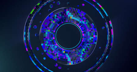 Futuristic dark metallic disk background with blue, red and purple square concentric cells inside changing color. 3D Illustration
