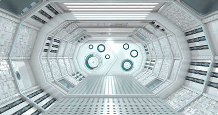 Front view of the interior of a reflective corridor of a spaceship in white light with a closed door with circular lock in the background. 3D Illustration