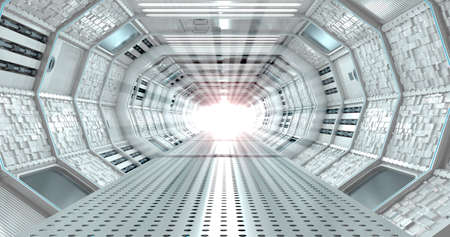 Front view of interior of long illuminated corridor with cube textured walls of spaceship with white light at end of tunnel. 3D Illustration