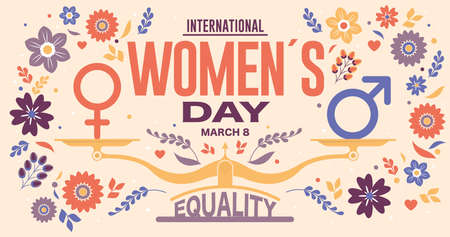 Greeting Card of INTERNATIONAL WOMEN S DAY. Text in red color and scale with EQUALITY word and male, female icon surrounded by violet, red, blue flowers and leaves on yellow background. Vector image Illusztráció