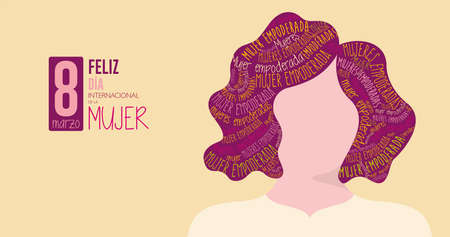Greeting Card FELIZ DIA INTERNATIONAL DE LA MUJER - HAPPY INTERNATIONAL WOMEN S DAY in Spanish language Silhouette of woman with purple hair filled with the words EMPOWERED WOMAN on yellow background Illusztráció