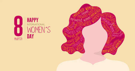 Greeting Card of HAPPY INTERNATIONAL WOMEN S DAY. Silhouette of woman with red hair filled with the words EMPOWERED WOMAN on yellow background. Vector image