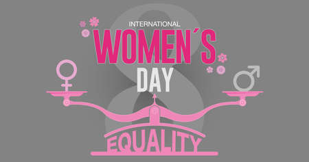 Greeting Card of INTERNATIONAL WOMEN S DAY. Text in red color on pink scale with EQUALITY word at the base and male, female icons surrounded by pink flowers and the number 8 in dark gray background