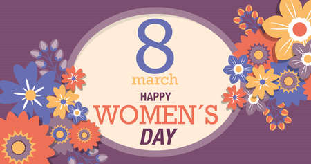 Greeting Card of HAPPY WOMEN S DAY. Text inside a yellow oval surrounded by red, blue and yellow flowers on a purple background. Vector image