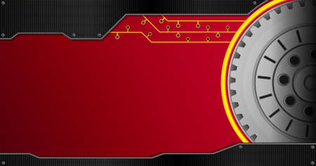 Background with black metal plate and group of concentric gears on the right side on the red background with yellow lines. Vector image