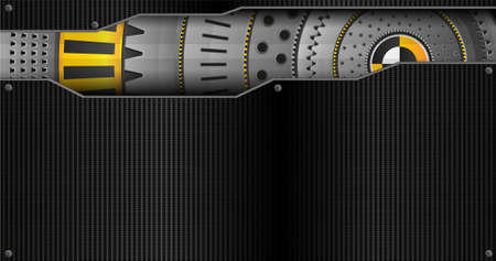 Background of metal plates with nuts with concentric discs of gears, spheres and metal mechanical parts in gray and yellow color behind the plates. Vector image