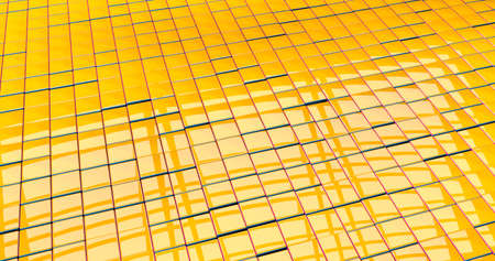 A bit messy reflective yellow checkered textured floor with red and blue edges. 3d illustration Stock Photo