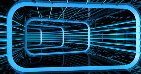 Background of reflective rectangular tunnel with structure and blue lights inside a spaceship. 3d illustration
