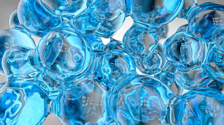 Liquid background of transparent and reflective blue spheres merging with each other like bubbles or glass.3D Illustration