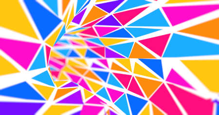 Tunnel background formed by blue, red and yellow triangles on a white background flying towards the camera. 3d illustration