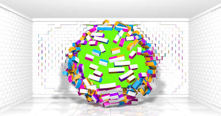 Rectangular wall of white, yellow, blue and red bricks exploding in a circular way inside an empty room with white walls and reflective floor on chroma key background. 3d illustration