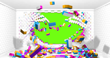 White, yellow, blue and red brick wall exploding inside a room with white walls and bricks scattered on the reflective floor on chroma key background. 3d illustration Stock Photo