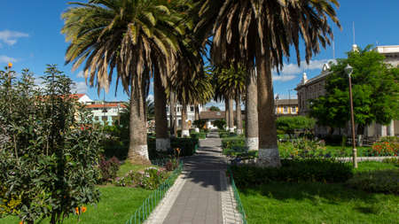 Panoramic view of San Francisco park full of palm trees in downtown Latacunga on a sunny day. Ecuador