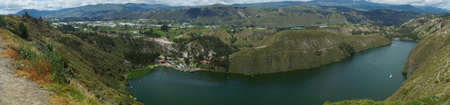 Panoramic view boats sailing in the Yambo lagoon on a sunny day near the city of Salcedo in the province of Cotopaxi - Ecuador