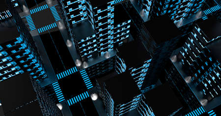Top night view of an empty city with blue reflective glass buildings with windows illuminated with white and blue light. 3D Illustration Stock Photo