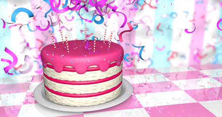 Greeting card of a red and white birthday cake with red cream and candles on a reflective pink and white table, there is an explosion of confetti from the back on red and blue wall. 3D Illustration Stock Photo