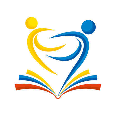 Education concept. Abstract drawing of two embracing people on an open book in yellow, blue and red color on a white background. Vector image
