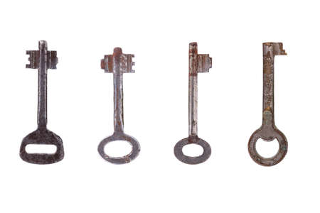 disclose: 4 old key on white background with clipping path