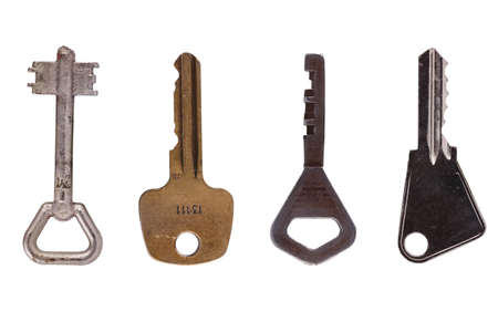 unbar: 4 old key on white background with clipping path