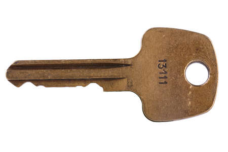 disclose: Old key on white background with clipping path