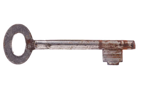 unbar: Old key on white background with clipping path