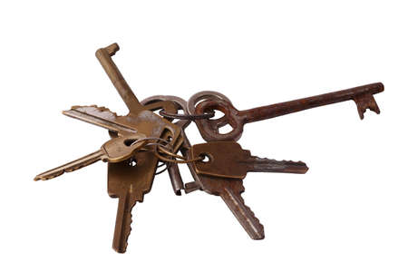 unbar: Bunch of old keys on white background Stock Photo