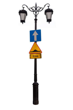 irradiation: Vintage Lantern with a road signs and new glasson a white background