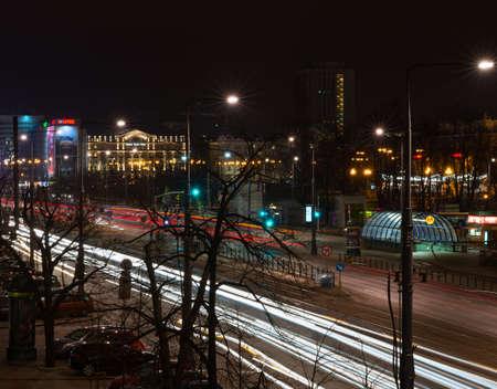 night traffic: Warsaw, Poland - December 22, 2015: Marshalkovska street in Warsaw. Night traffic