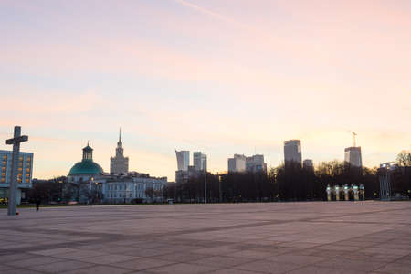 philosophical: Warsaw, Poland - December 24, 2015: Pilsudski Square or Victory Square in Warszaw, Poland Editorial