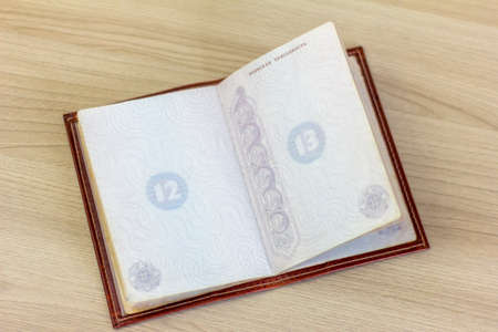Open Russian passport on the table. Banque d'images