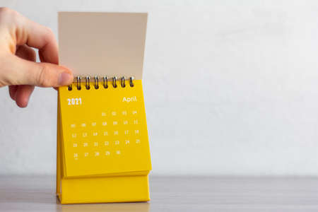 Flip calendar for April 2021. Desktop calendar for planning, scheduling, assigning, organizing, managing each date.