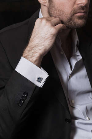 cufflink: Man style. dressing suit, shirt Stock Photo