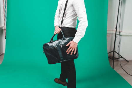 Fashion picture of buisness man with bag