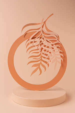 Luxury circle podium with palm leaves and frames on orange background. Concept scene stage showcase, for product, promotion, sale, banner, presentation, cosmetic. Minimal showcase mock up concept.