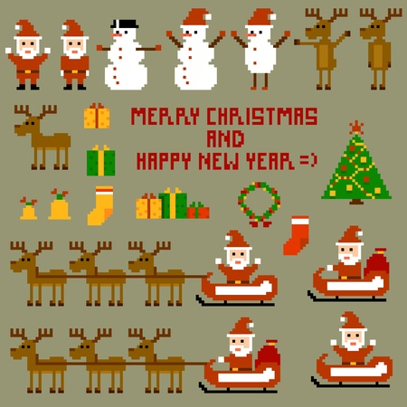 cartoon fireplace: Pixel Christmas Holidays  Vector illustration 10-eps