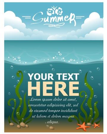ocean background: Summer Background  Vector illustration