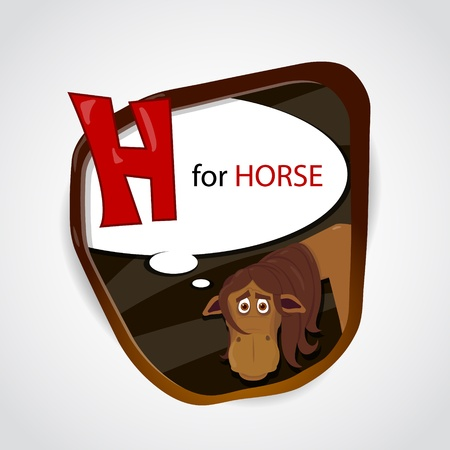 weariness: The English alphabet of animal theme  H for Horse