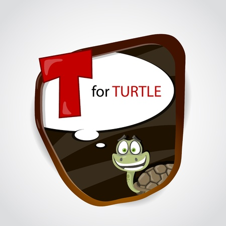 The English alphabet of animal theme  T for Turtle  Vector illustration Vector