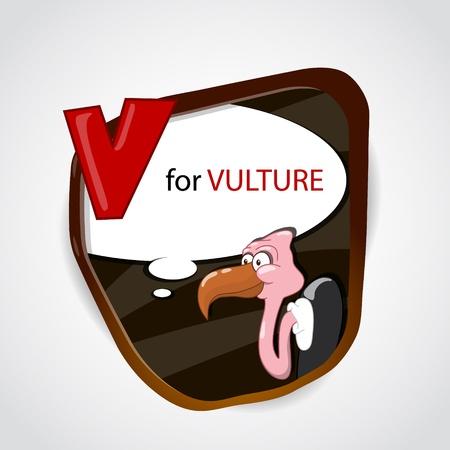 Cartoon Vulture Alphabet Letter V Vector