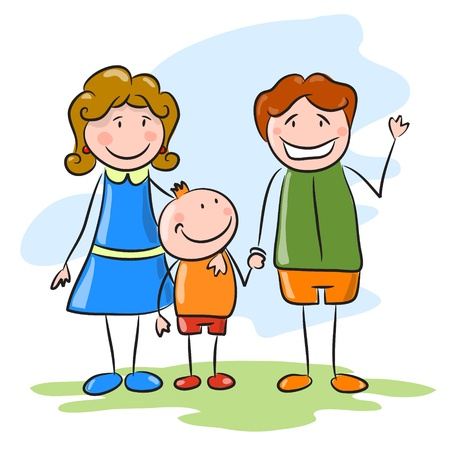 adult sisters: Happy family on the sky background. Mother, father and son Illustration