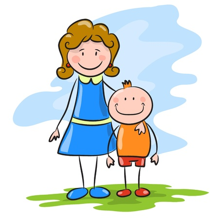 mather: Happy boy and mom  Illustration