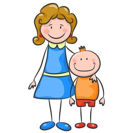 mather: Happy boy and mom  Illustration