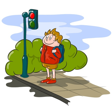 waiting in line: The boy waiting to cross the road Illustration