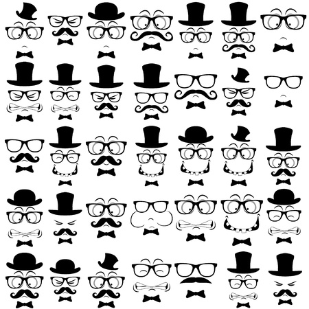 Set of moustached physiognomies  Vector illustration Vector