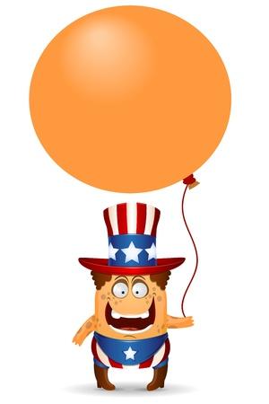 amusant: Le petit homme dr�le dans un chapeau pour Juillet 4th Vector illustration