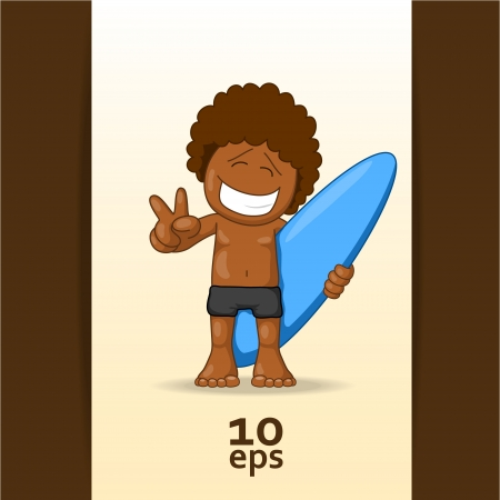 surfer vector: Happy surfer  Vector illustration Illustration